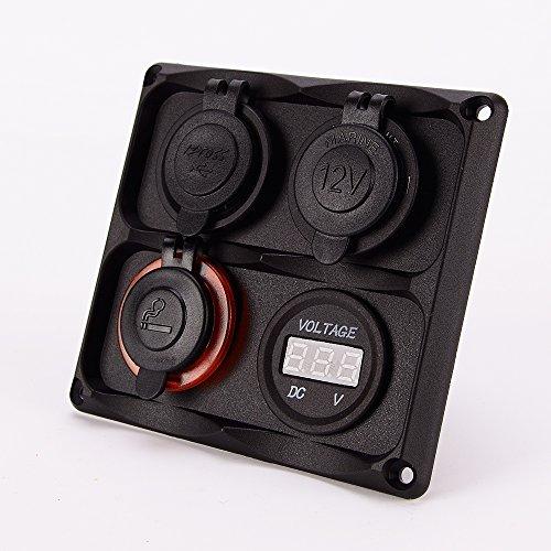 12-24V voiture allume-cigare numérique voltmètre USB port chargeur