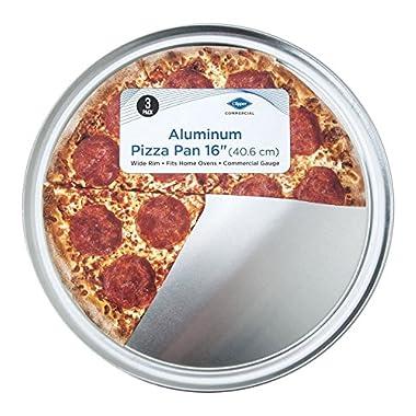 3 Pack Set - Aluminum 16 inch Pizza Pan - Wide Rim