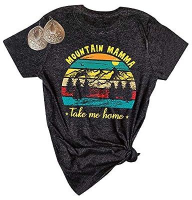 HEBBE Mountain Mamma Take Me Home Shirt Women Country Shirts Casual Short Sleeve Graphic Tees Size L (Dark)