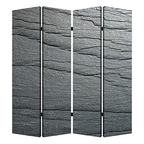 Best Price 4 Panel Canvas and Metal Frame Room Divider Slate Gray Grey Abstract Modern Contemporary ...