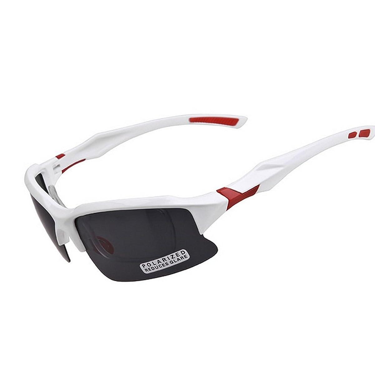 身元下位待ってスポーツサングラス メンズ偏光スポーツサングラスTACレンズ駆動白と赤の柔軟なTR90サイクリングランニング釣りゴルフ頑丈なフレーム ドライブ/野球/自転車/釣り/ランニング/ゴルフ/運転 男女兼用