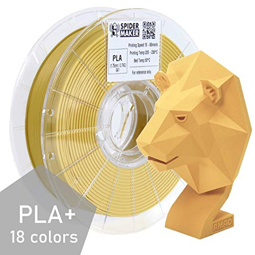 SpiderMaker 3D Premium PLA Plus Filament - Matte PLA with Incredible Vibrant Colors - 1.75 mm, 700g (Cheese Yellow)