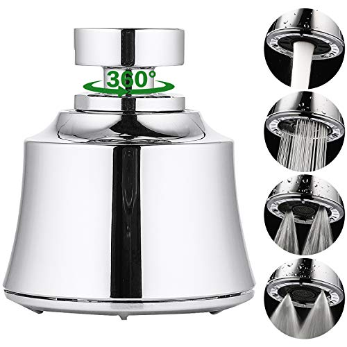 Houtingmaan Kitchen Sink Faucet Head, Big Angle Swivel Faucet Aerator with 4 Spray Modes, 55/64 Inch-27UNS Female Thread, Polished Chrome
