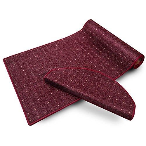 casa pura® Stufenmatten   mit Punkt Muster   GUT-Siegel, Made in Germany   kombinierbar mit Läufer   65x23,5 cm   Flieder/Bordeaux rot   halbrund, 15er Set