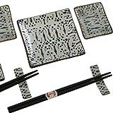 Set Sushi para 2 Personas de cerámica con Caja de Regalo Caja 26x20,5x3,5cm (Puntos)