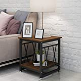 End Table 17.7 Inch,Nightstand with Wood Look Modern Metal Frame,Side Tables with Additional Bottom Shelf to Hold Storage Baskets,Picture,Magazines,Lamp Decor in Living Room Bedroom