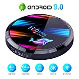 Android 9.0 TV Box Smart Media Box 4GB RAM 64GB ROM S905X3 Quad Core Bluetooth 4.0 WiFi 2.4G & 5G Ethernet 1USB 3.0 & 1USB 2.0 Set Top Box Support 8Kx4K@24 max Resolution Output Internet Video Player