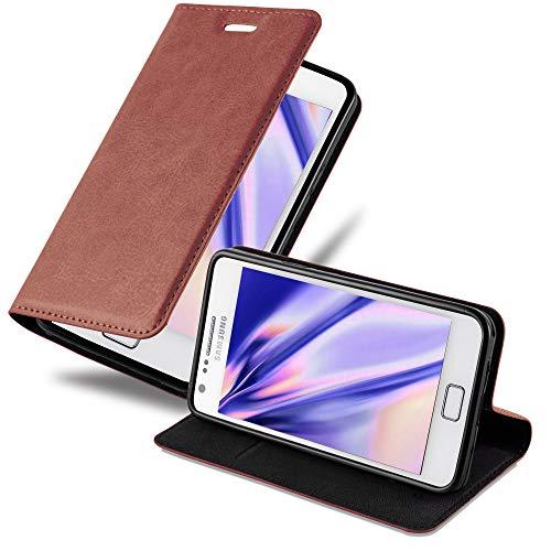 Cadorabo Hülle für Samsung Galaxy S2 / S2 Plus - Hülle in Cappuccino BRAUN – Handyhülle mit Magnetverschluss, Standfunktion und Kartenfach - Case Cover Schutzhülle Etui Tasche Book Klapp Style