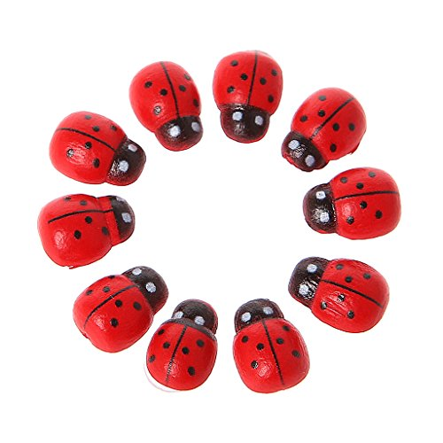 Qianqian56 10 Stks Mini Lieveheersbeestje Rode Kever Lieveheersbeestje Fee Pop Huis Tuin Decor Ornament