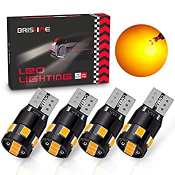 BRISHINE 300LM Extremely Bright Canbus Error Free 194 168 2825 192 W5W T10 LED Bulbs Amber Yellow 9-SMD 2835 LED Chipsets for Side Marker Turn Signal Blinker Map Door Parking Lights  Pack of 4