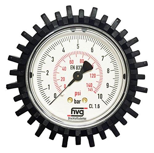 "Manometer Reifenfüller 10 bar 145 psi, G1/4\"" 63 mm WIKA mit Gummischutzkappe"