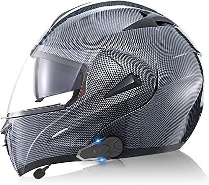 TKTTBD Casco De Motocicleta Integrado con Bluetooth, Intercomunicador FM MP3 Incorporado Sistema De Comunicación para 2-3 Personas Casco Modular Casco De Ciclomotor Certificado ECE/Dot C,XXL-63-64CM