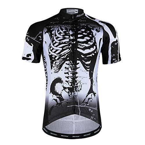 MISSHU Maillot Ciclismo Manga Corta De Los Hombres Estampado De Esqueleto Transpirable...