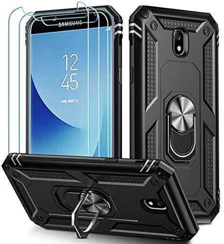 ivoler für Samsung Galaxy J7 2017 Hülle mit [Panzerglas Schutzfolie *3], Militärischer Schutz Stoßfest Handyhülle Anti-Kratzer Schutzhülle Case Cover mit 360 Grad Ring Halter, Schwarz