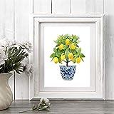 Kuingbhn Arte Moderno Impresión de Lienzo Limón Chinoiserie Jardinera Bonsai Pintura Arte Oriental Azul Blanco Sauce Cartel de limón Decoración de cocina-30X40cm Sin Marco