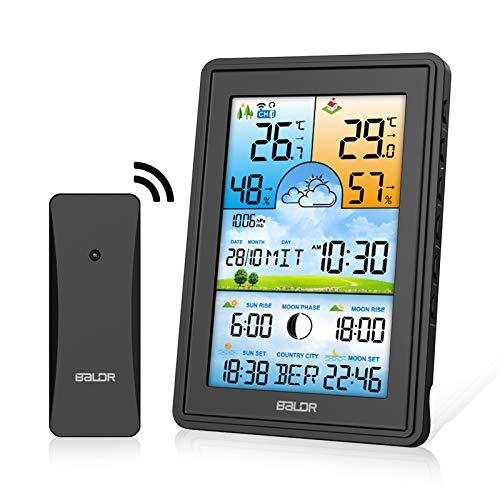 SOSPIRO Wetterstation Funk mit Außensensor,3 Senderkanäle Digital Thermometer Hygrometer Innen Außen Raumthermometer Feuchtigkeit mit Wettervorhersage/Datum/Uhrzeit