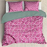 HELLOLEON Jirafa paquete de 3 (1 funda de edredón y 2 fundas de almohada) Ropa de cama abstracta de poliéster de piel animal (2 camas)