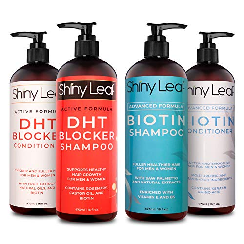 Shiny Leaf Biotin and DHT Blocker Hair Growth Shampoo and Conditioner Bundle - Sulfate Free Shampoo and Conditioner Set Targeting Thinning Hair, Hair Loss - Pro-Shine, Color Safe, Thickening, 4x16 Oz
