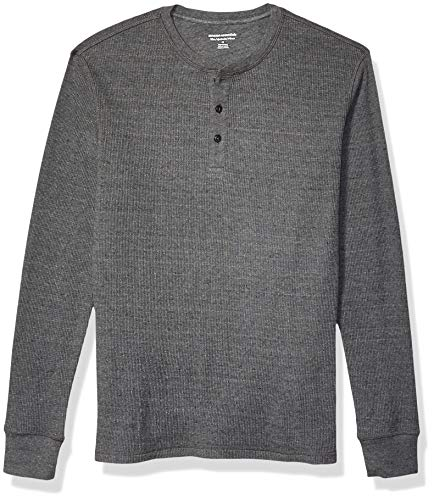 Amazon Essentials Men's Slim-Fit Long-Sleeve Waffle Henley, Charcoal, X-Large