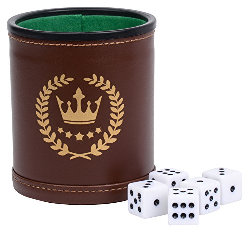 Park City Games Professional Casino 5 pc Dice Cup Set PU Brown Leather Green Velvet Lined Includes 5 White Six-Sided Dice