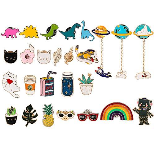 26 alfileres esmaltados con diseño de piñas, arcoíris, dinosaurios, gatos, montañas, planetas, conejos, mixtos, dibujos animados, pino, multicolor para ropa, bolsos, chaquetas, sombreros