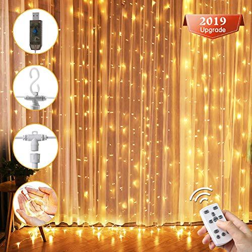 LED Lichtervorhang, VOYOMO Upgrade Version 300 LEDs Lichterkettenvorhang 3M mal 3M mit 8 Modi USB Warmweiß IP65 Wasserfest für Weihnachten Party Schlafzimmer Innen und außen Deko
