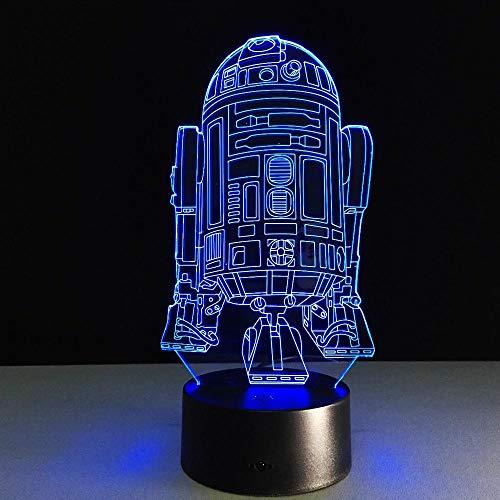 Lámpara de ilusión 3D Anime Cool Star R2D2 Robot Wars Novedad Luz nocturna 3D LED lámpara de mesita de noche lámpara de mesa lamparas USB luz nocturna para niños 7 colores táctil