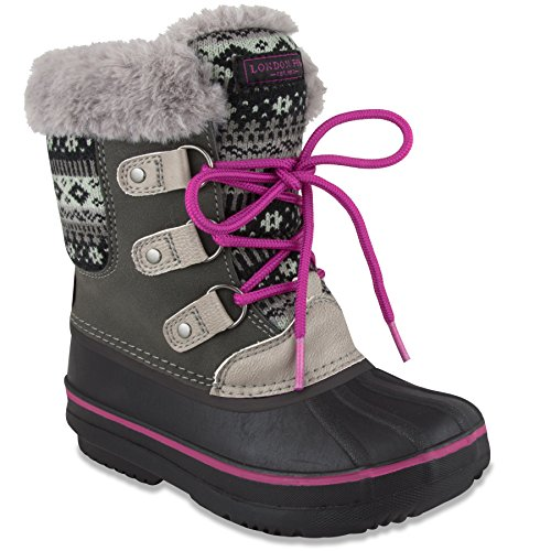 LONDON FOG Girls Tottenham Cold Weather Snow Boot GY/PK Size 12 Grey/Pink