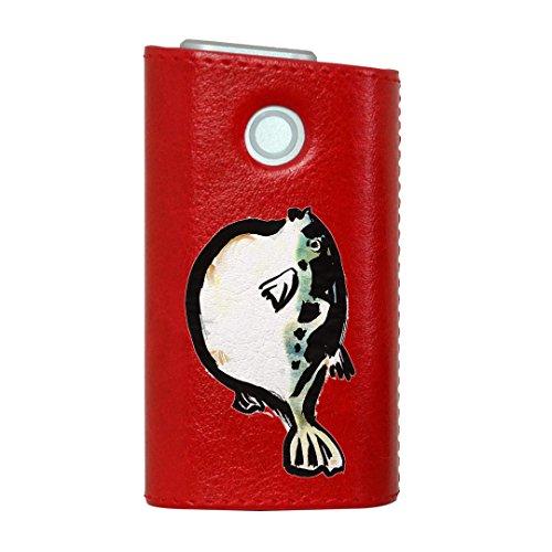 glo グロー グロウ 専用 レザーケース レザーカバー タバコ ケース カバー 合皮 ハードケース カバー 収納 デザイン 革 皮 RED レッド ユニーク 魚 ふぐ 001599