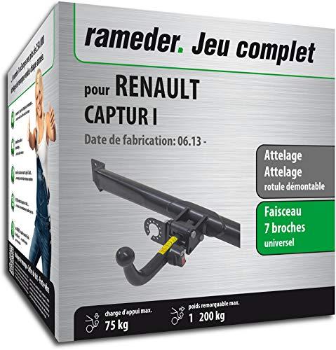 Rameder Pack, attelage rotule démontable + Faisceau 7 Broches Compatible avec Renault CAPTUR I (135325-11232-1-FR)