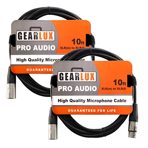 Gearlux XLR Microphone Cable Male to Female 10 Ft Fully Balanced Premium Mic Cable - 2 Pack
