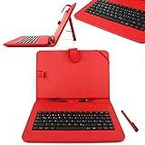 DURAGADGET Kunstleder Schutzhülle mit Micro USB Deutsche Tastatur und Standfunktion für Prestigio MultiPad 9.7 Ultra Duo, Wortmann Terra Pad 1001, TrekStor SurfTab ventos 9.7 und 10.1