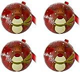 Paquete de 4 latas de metal navideñas para galletas, tarro, contenedores de almacenamiento de dulces, galletas, lata para regalos de Navidad, año nuevo, fiesta - Reno