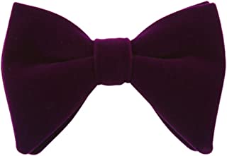 Lovacely Mens Oversized Velvet Bow Tie Solid Color Formal Tuxedo Pre-Tied Big Bowtie
