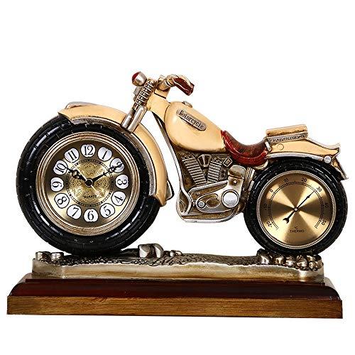 DAMAI STORE Harz Ornaments Uhr/Tischuhr Uhr Personalisierte Motorrad/Wohnzimmer-Uhr- Mute Die Uhr 30 * 21cm (Color : Yellow)