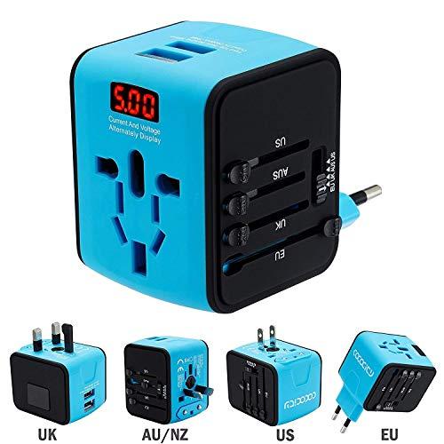 FEIGO Adaptador Enchufe de Viaje Universal Dos Puertos USB Cargador Internacional con MAX 2.4A para US EU UK AU Japon Asia África Más de 150 Países y Seguridad de Fusibles (Azul)
