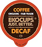 EKOCUPS Organic Decaf Coffee Pods, Swiss Water Decaffeinated Coffee, Hot or Decaf Iced Coffee For Keurig K Cups Machines, Organic Fair Trade Coffee in Recyclable Pods, 40 Count
