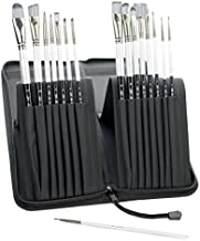 Adi's Art Pro Paint Brushes Set for Acrylic Oil Watercolor, Artist Face and Body Professional Painting Kits with Synthetic Nylon Tips (Long with Case, Black)