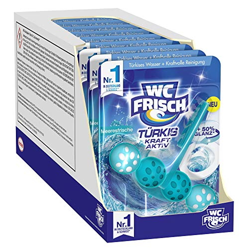 WC FRISCH Kraft Aktiv Türkisspüler Meeresfrische, WC-Reiniger, 10 Stück, Farbspüler mit 50 Prozent mehr Glanz