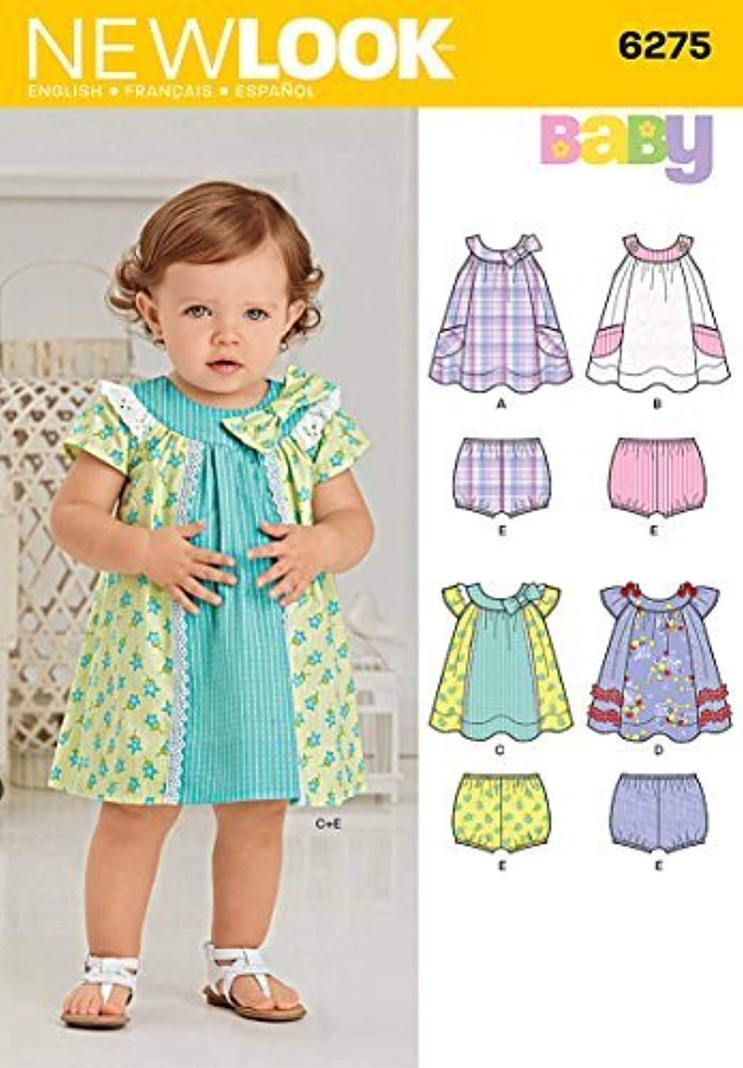 Simplicity Creative Patterns New Look 6275 Babies' Dress and Panties, A (NB-Small-Medium-Large)