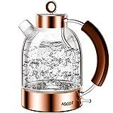 ASCOT - Bollitore elettrico in vetro, 2200 W, 1,6 litri, in acciaio inox, design retrò, senza fili, senza BPA, protezione contro il funzionamento a secco, spegnimento automatico, colore: oro rosa