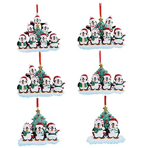 decorazioni natalizie famiglia A/A 6 ciondoli personalizzati per albero di Natale a forma di pinguino