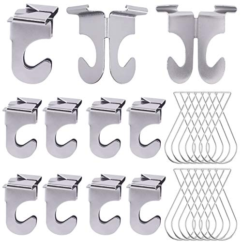 Rustark Drop Ceiling Hooks for Classrooms & Offices, 15 Pcs Heavy Duty Aluminum Hanger with 15 Pcs Ceiling Grid Clips for Hanging Plants & Decorations, Metal T-Bar Hooks,Holds up to 15 lbs