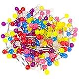 BodyJewelryonline Adultos 100 mezcla Glow in the Dark 14ga Barbell recto - precios por mayor - lengua o Piercings de pezón