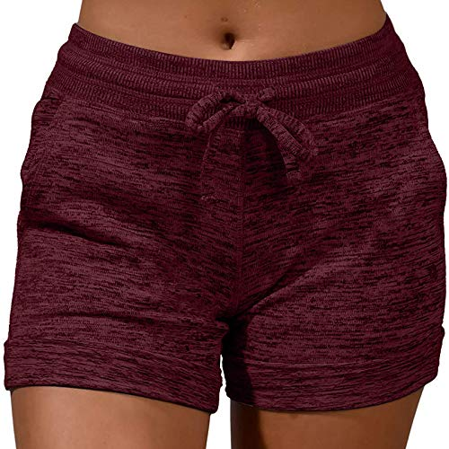 Sport-Shorts für Damen, elastischer Taillenbund mit Kordelzug, lässig, bequem, weich, mit Taschen, Yoga, Laufen, wein, XX-Large