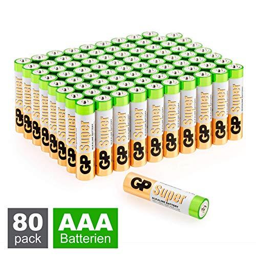 GP Batterien AAA (Micro, LR03) Super Alkaline Technologie 1,5V, Vorratspack mit 80 Stück Microzellen (8X 10er Pack)