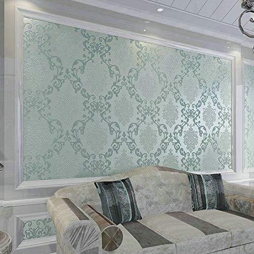 LZYMLG Papel tapiz clásico de 1 m Papel tapiz de estilo europeo Papel de pared en rollo Damasco en relieve Flocado Revestimiento de pared 3d Papel De Parede si