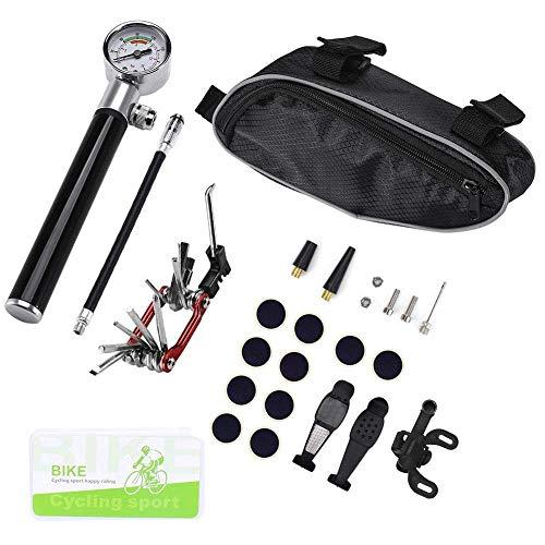 ADSE Kit de reparación de Bicicletas, minibomba, Kit de Herramientas multifunción 16 en 1 para Acampar al Aire Libre