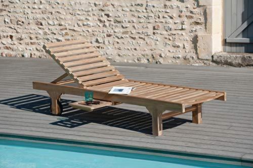 MACABANE 500975 Bain de Soleil avec roulettes Couleur Brut en Teck Dimension 65cm X 205cm X 30cm
