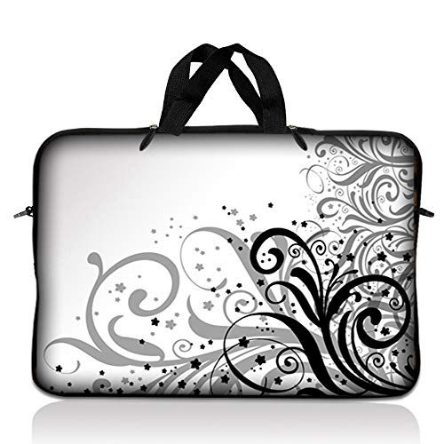 LSS 15.6 inch Laptop Sleeve Bag Compatible with Acer, Asus, Dell, HP, Sony, MacBook and more   Carrying Case Pouch w/ Handle, Gray Swirl Black and White Floral